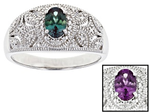 Blue lab created alexandrite rhodium over sterling silver ring .37ctw