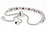 Red ruby rhodium over silver bolo bracelet 1.51ctw