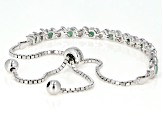 Green emerald rhodium over silver bolo bracelet 1.21ctw