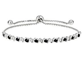 Blue sapphire rhodium over silver bolo bracelet 1.51ctw