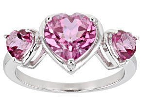 Pink Topaz Rhodium Over Sterling Silver Ring 2.95ctw