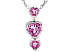 Pink Topaz Rhodium Over Silver Necklace 2.92ctw