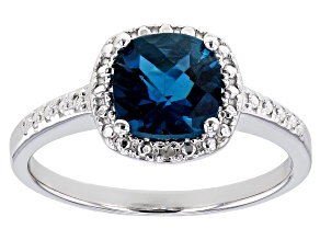 Blue topaz rhodium over sterling silver ring 1.36ctw
