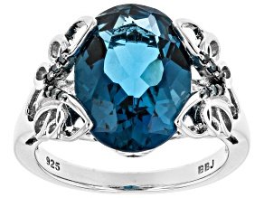 London blue topaz rhodium over silver ring 6.32ctw