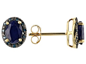 Blue sapphire 18k yellow gold over silver stud earrings 1.71ctw