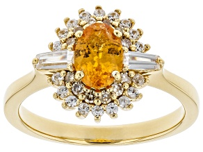 Orange Spessartite 18k Gold Over sterling silver ring 1.36ctw