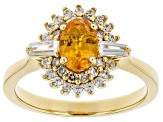 Orange Mandarin Garnet 18k Gold Over sterling silver ring 1.36ctw