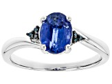 Blue Kyanite Rhodium Over Silver Ring 1.43ctw