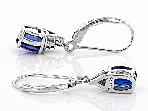 Blue Kyanite Rhodium Over Silver Earrings 1.66ctw