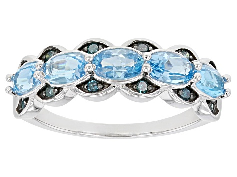 Blue Topaz Rhodium Over Silver Ring 1.28ctw