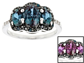 Blue Lab Created Alexandrite Rhodium Over Silver Ring 2.26ctw