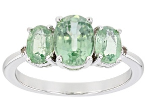 Green Kyanite Rhodium Over Silver Ring 2.31ctw