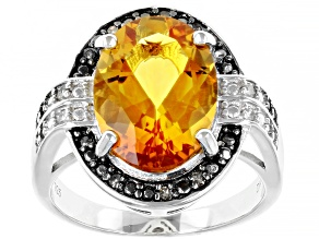 Yellow Citrine Rhodium Over Silver Ring 5.15ctw