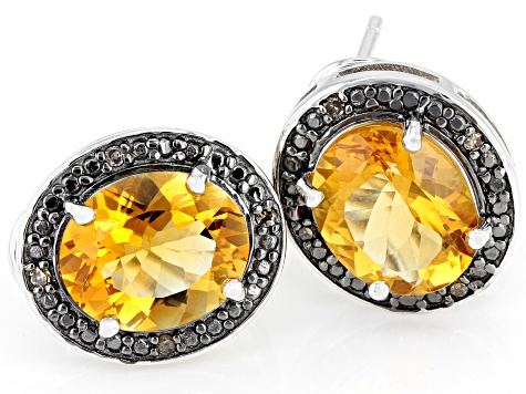 Yellow Citrine Rhodium Over Silver Earrings 6.02ctw