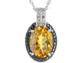 Yellow Citrine Rhodium Over Silver Pendant With Chain 5.10ctw
