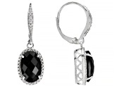 Black spinel rhodium over sterling silver earrings 7.42ctw