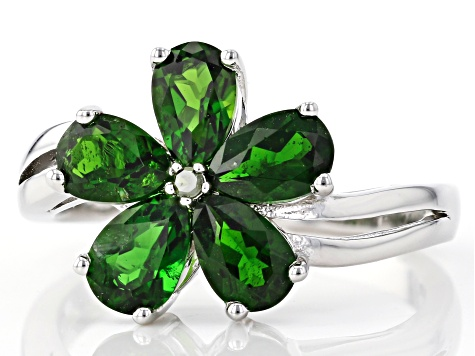 Green Chrome Diopside Rhodium Over Silver Ring 1.80ctw