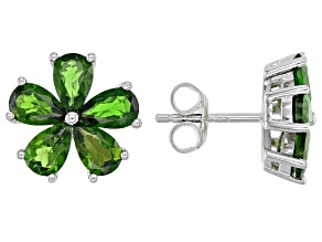 Green Chrome Diopside Rhodium Over Silver Stud Earrings 3.57ctw