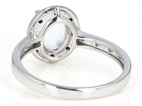 Blue Aquamarine Rhodium Over Silver Ring 1.07ctw