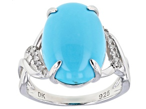 Blue Turquoise Rhodium Over Silver Ring .10ctw