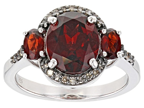 Red Garnet Rhodium Over Silver Ring 3.68ctw