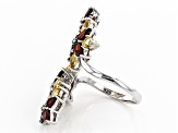 Red Garnet Rhodium Over Sterling Silver Bypass Ring 4.47ctw