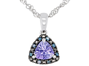 Blue Tanzanite Rhodium Over Sterling Silver Pendant With Chain .68ctw