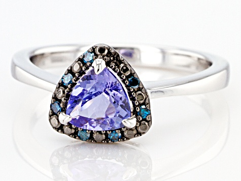 Blue Tanzanite Rhodium Over Sterling Silver Ring .69ctw