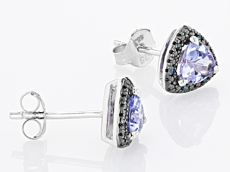 Blue Tanzanite Rhodium Over Sterling Silver Earrings 0.83ctw