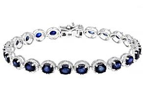 Blue sapphire rhodium over sterling silver bracelet 8.43ctw
