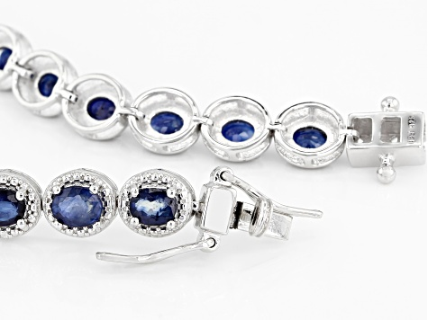 Blue sapphire rhodium over sterling silver bracelet 8.43ctw