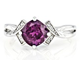 Teal lab created alexandrite rhodium over sterling silver ring 1.60ctw