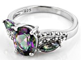 Green Mystic Fire(R) Topaz Rhodium Over Silver Ring 2.55ctw