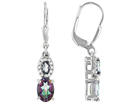 Green Mystic Fire (R) Topaz Rhodium Over Silver Earrings 1.38ctw