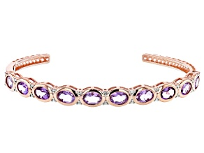 Purple amethyst 14k rose gold over silver bracelet 7.67ctw