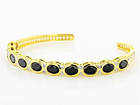 Black spinel 18k yellow gold over silver cuff bracelet 6.64ctw