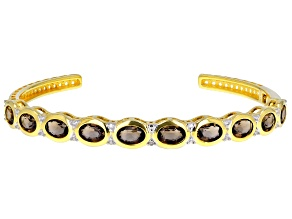 Brown smoky quartz 18k yellow gold over silver cuff bracelet 6.64ctw
