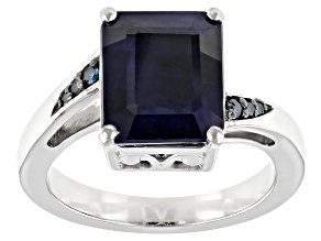 Blue Sapphire Rhodium Over Silver Ring 4.06ctw