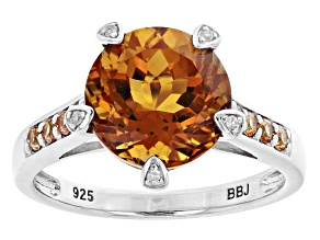 Orange Madeira Citrine Rhodium Over Silver Ring 3.23ctw