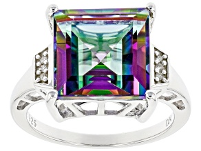 Mystic Fire(R) Green Topaz Rhodium Over Silver Ring 6.49ctw