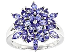 Blue Tanzanite Rhodium Over Silver Ring 2.10ctw