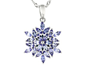 Blue Tanzanite Rhodium Over Silver Pendant With Chain 1.46ctw