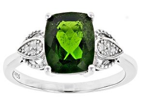 Green Chrome Diopside Rhodium Over Silver Ring 2.86ctw