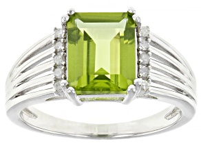 Green Peridot Rhodium Over Silver Ring 2.20ctw