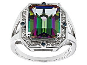 Mystic Fire(R) Topaz Rhodium Over Silver Ring 6.24ctw