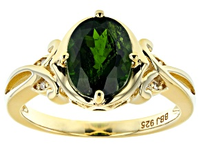 Green chrome diopside 18k yellow gold over silver ring 1.65ctw