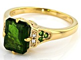 Green Chrome Diopside 18k Yellow Gold Over Silver Ring 2.15ctw