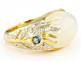 White moonstone 18k gold and rhodium over sterling silver ring .10ctw