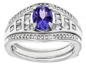 Blue tanzanite rhodium over silver ring 1.54ctw
