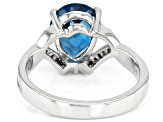Blue Topaz Rhodium Over Sterling Silver Ring 2.52ctw